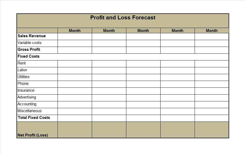 printable profit and loss statement template