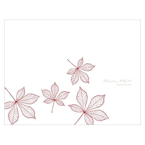 Personalized Autumn Leaves Printable Program Paper