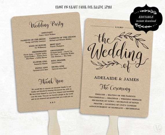 Printable Wedding Program Template, Rustic Wedding Fan Program