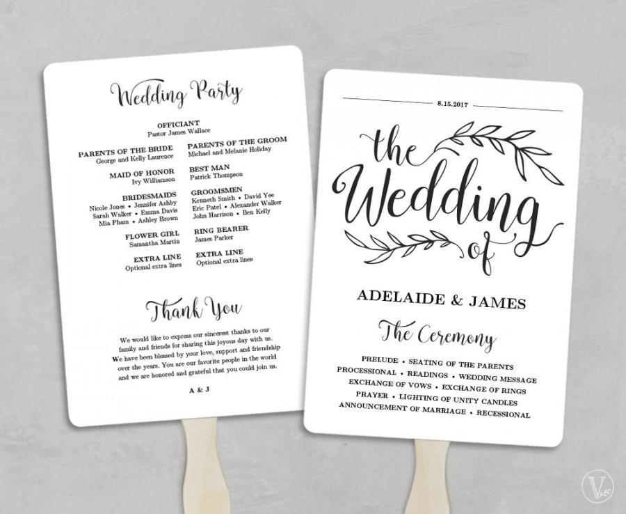 Printable Wedding Program Template, Fan Wedding Program, Kraft