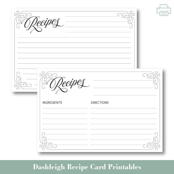 Free Printable Recipe Cards — Weekend Craft