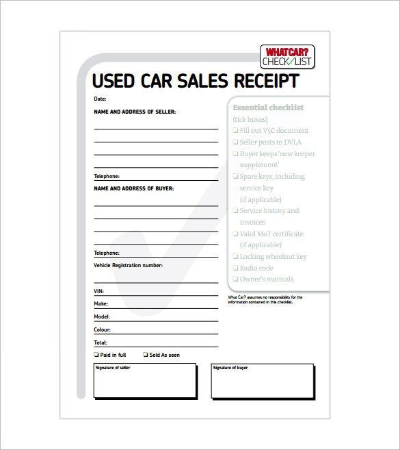 Car Sale Receipt. , Receipt Template Doc for Word Documents in