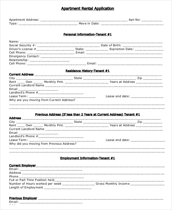 17+ Printable Rental Application Templates | Free & Premium Templates