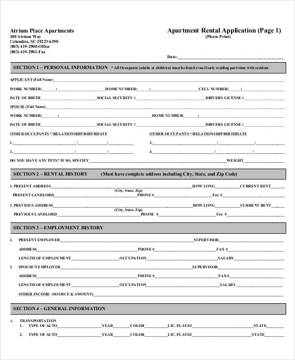 17+ Printable Rental Application Templates   Free & Premium Templates