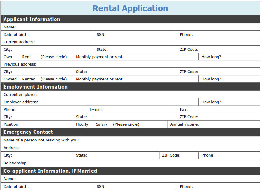 Free Printable Rental Application Template Tags Printable Pdf