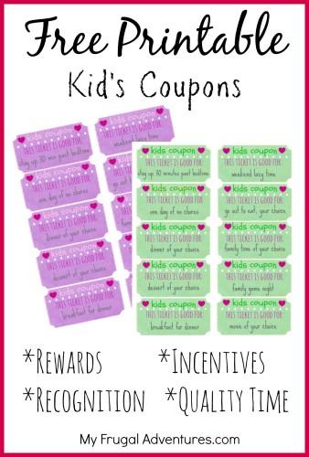 Free Printable Reward Tickets for Kids