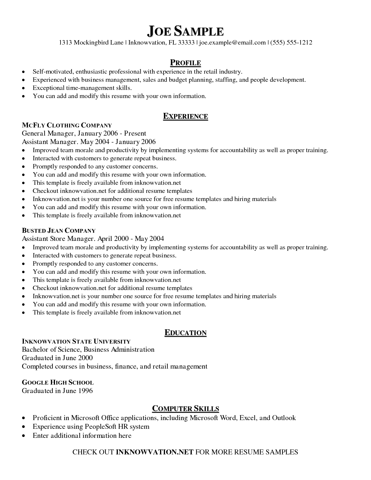 Resume Templates Examples Free   Resume Templates