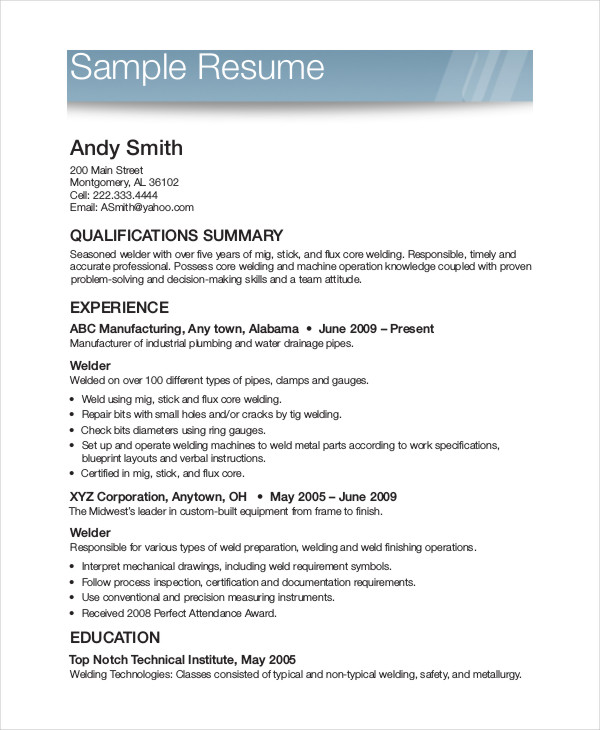 printable samples of resumes