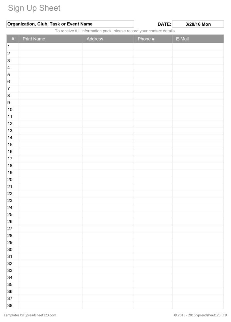 Sign Up Sheets   Potluck Sign Up Sheet