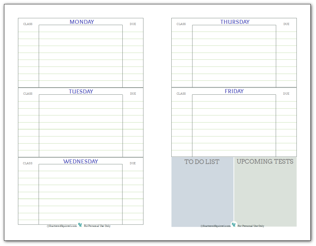 STUDENT PLANNER PRINTABLE | Home Office | Planners & Stationery