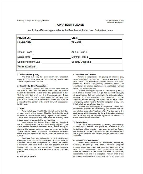 Apartment Lease Template   7+ Free Word, PDF Documents Download