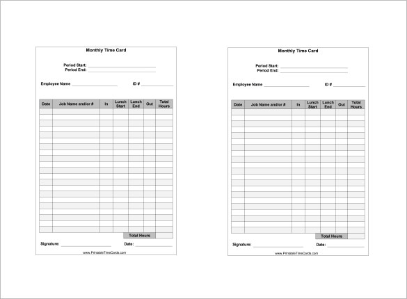 printable time cards for employees free