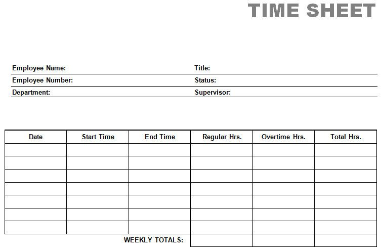 Free Time Card Template | printable blank PDF time card time