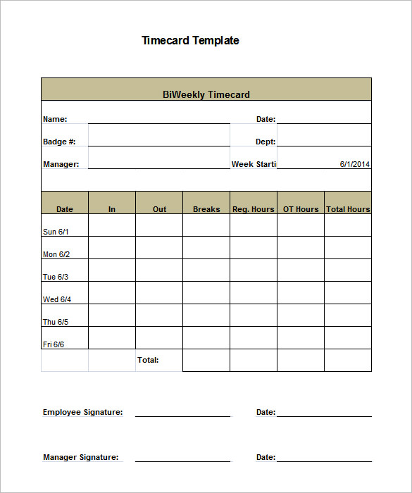 Employee Time Card Template 8 Printable Time Card Templates Free