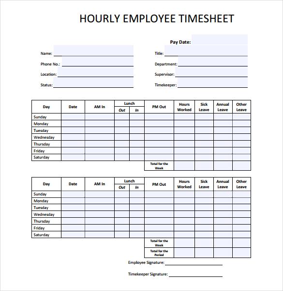 printable time sheets pdf