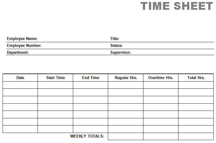 26+ Blank Timesheet Templates – Free Sample, Example Format