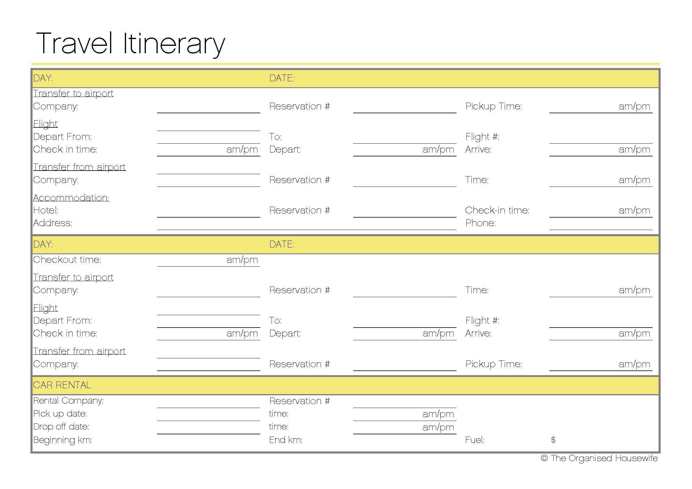 Free Printable   Travel Itinerary | itineraries, etc. | Pinterest