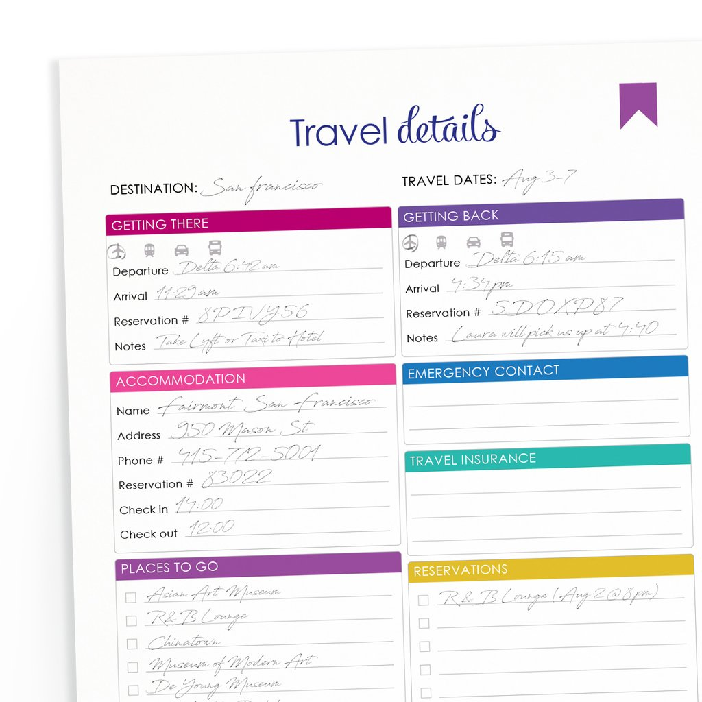 Printable Travel Itinerary – 76th Street Ink