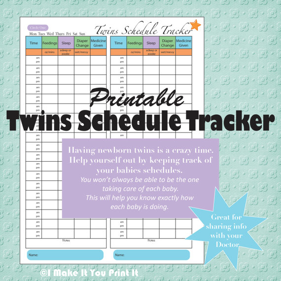 Printable Baby Schedule Tracker and Twins Schedule Tracker | I