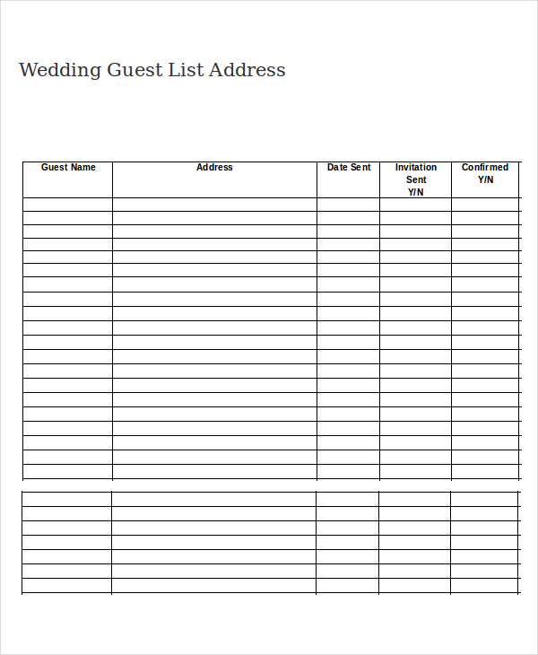 Wedding Guest List Template   9+ Free Word, Excel, PDF Documents