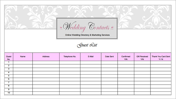 photograph regarding Printable Wedding Planner Pdf titled Printable Marriage ceremony Visitor Listing Template Pdf retailer clean