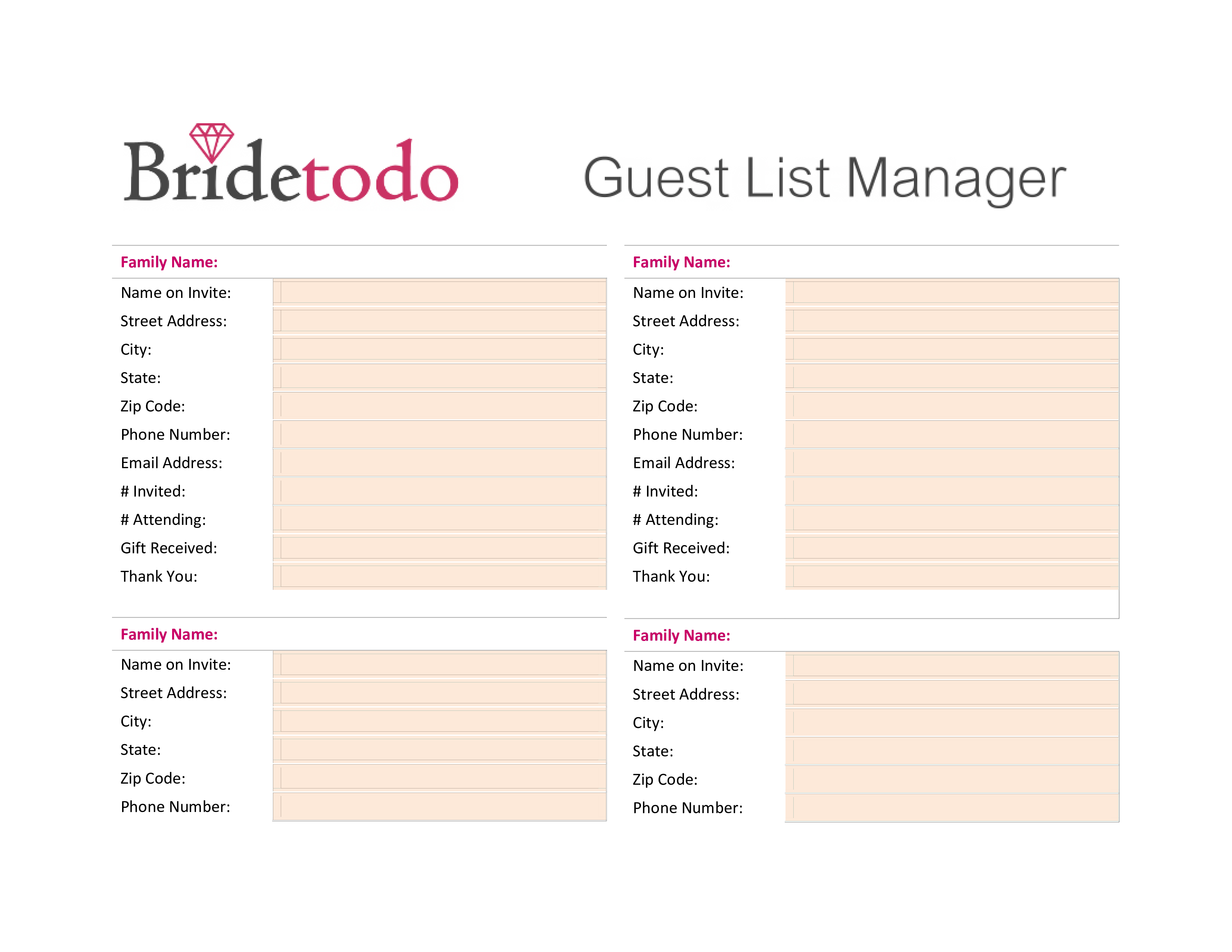 Free Printable Wedding Guest List | Templates at