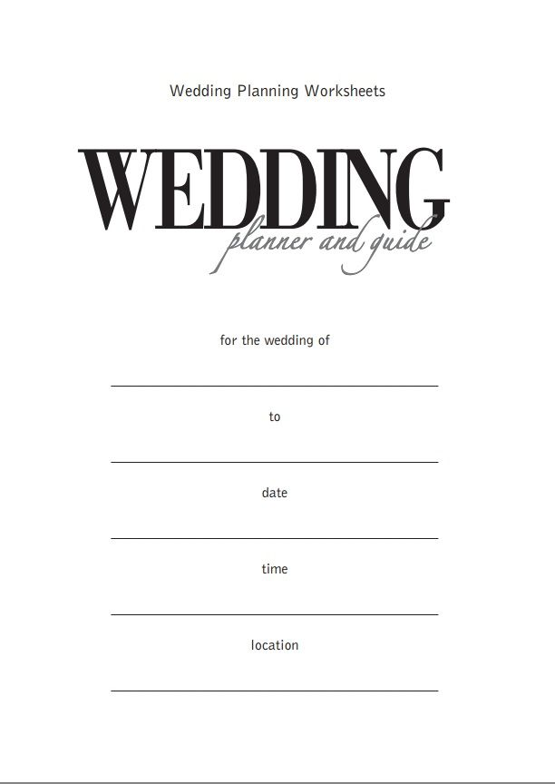 Wedding Planner Worksheets