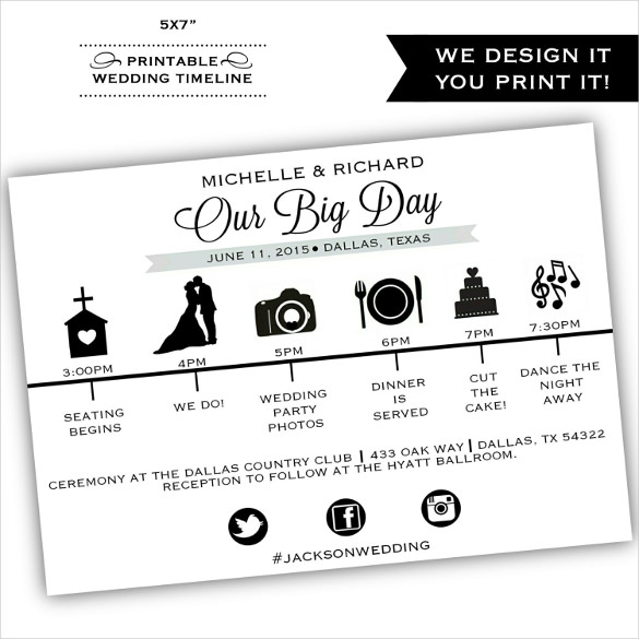 Wedding Day Timeline Template Forms   Fillable & Printable Samples