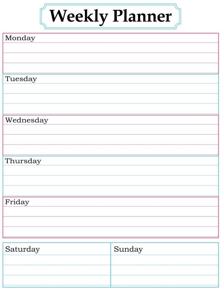 printable blank weekly calendar   zrom.tk