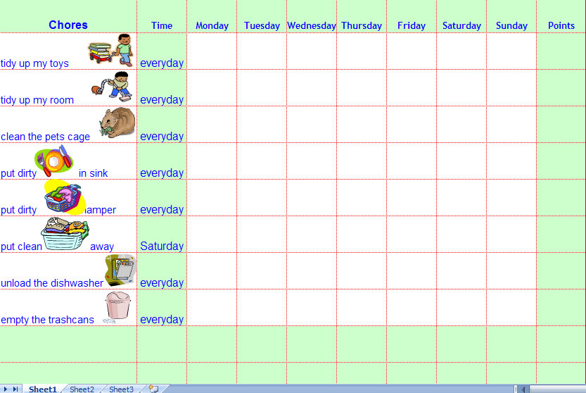 Free Blank Printable Weekly Chore Chart Template for Kids
