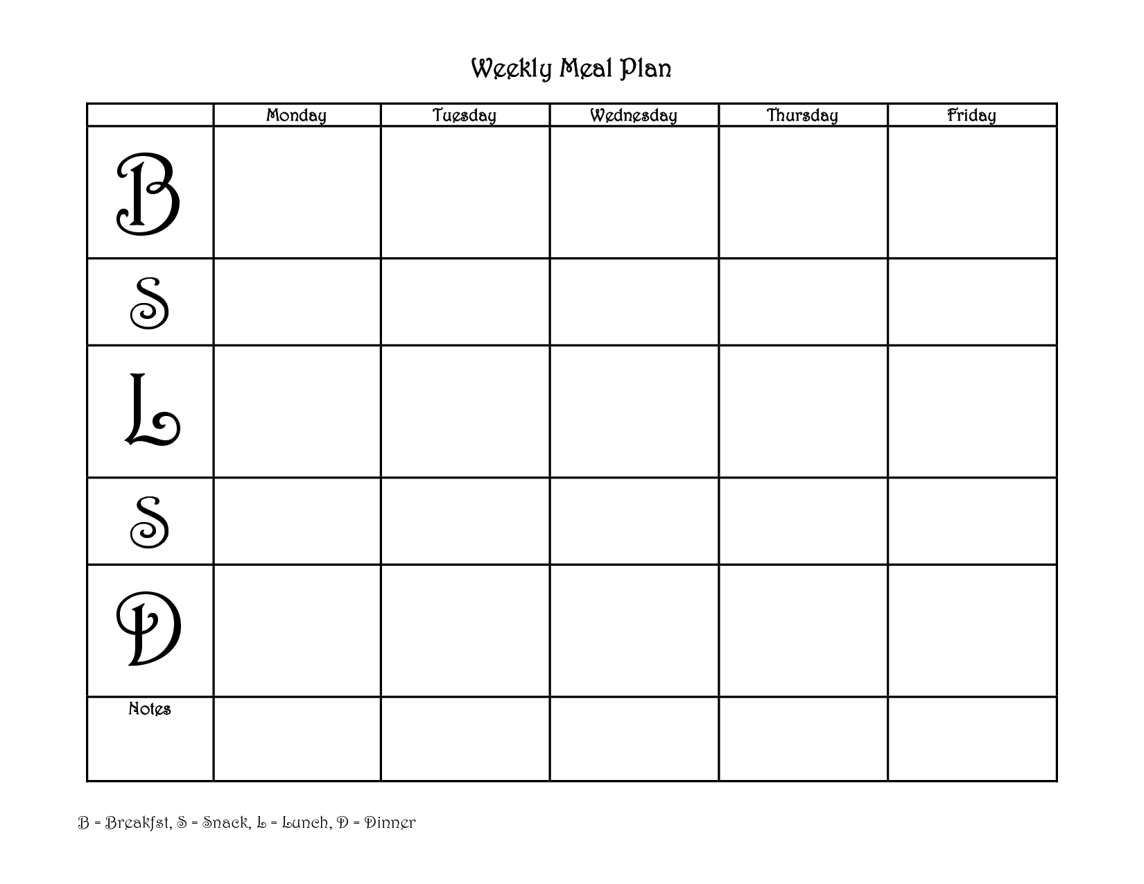 Blank Weekly Meal Planner Template   love that it has 2 snacks and