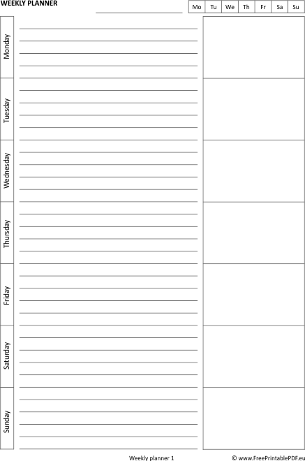 graphic about Blank Weekly Schedule Pdf named Printable Weekly Planner Pdf retail store refreshing