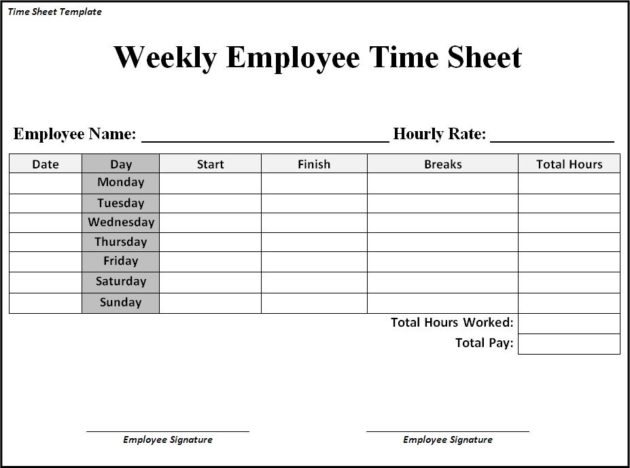 Free Printable Weekly Timesheet Template 14   magnolian pc
