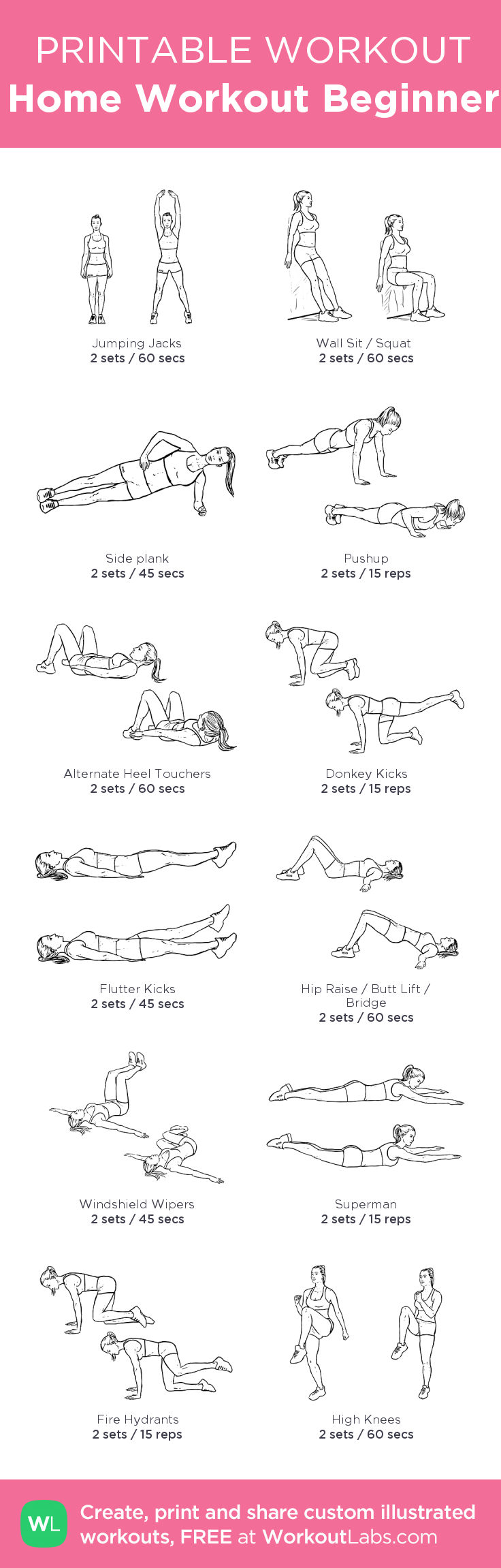 Home Workout for Beginner: my custom printable workout by