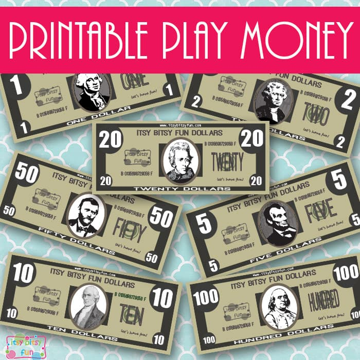 Free Realisitc Printable Play Money   Itsy Bitsy Fun