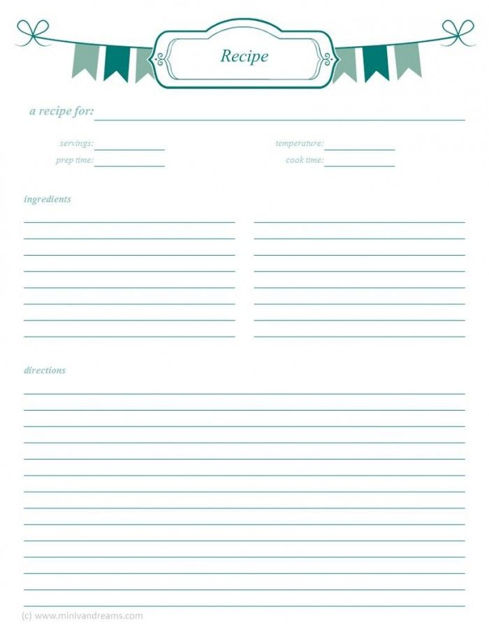 Meal Planning Binder: Recipe Pages | Recipe Cards/Pages
