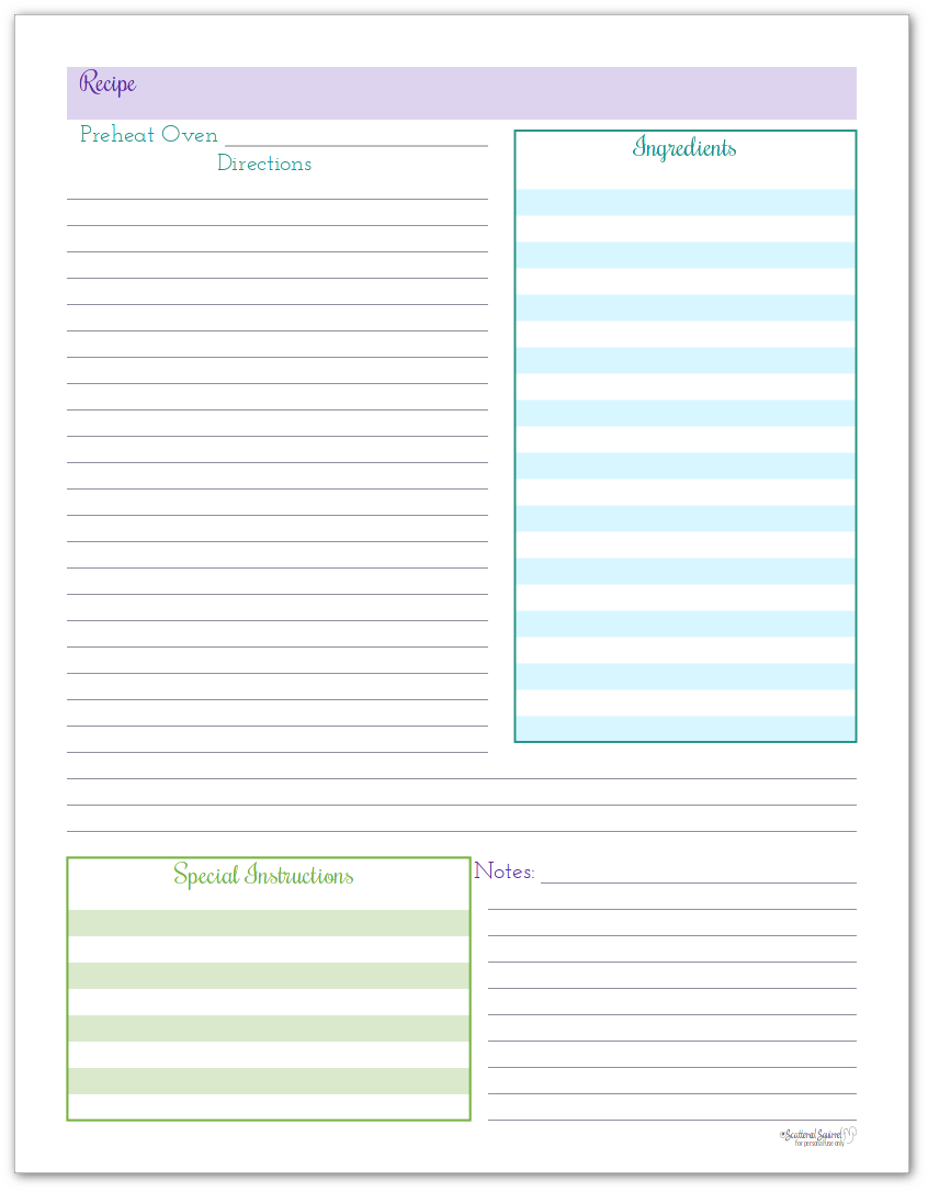 Organize Your Recipes with These Handy Recipe Page Printables
