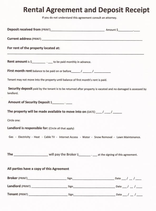 Free Rental Forms To Print   Free and Printable Rental Agreement
