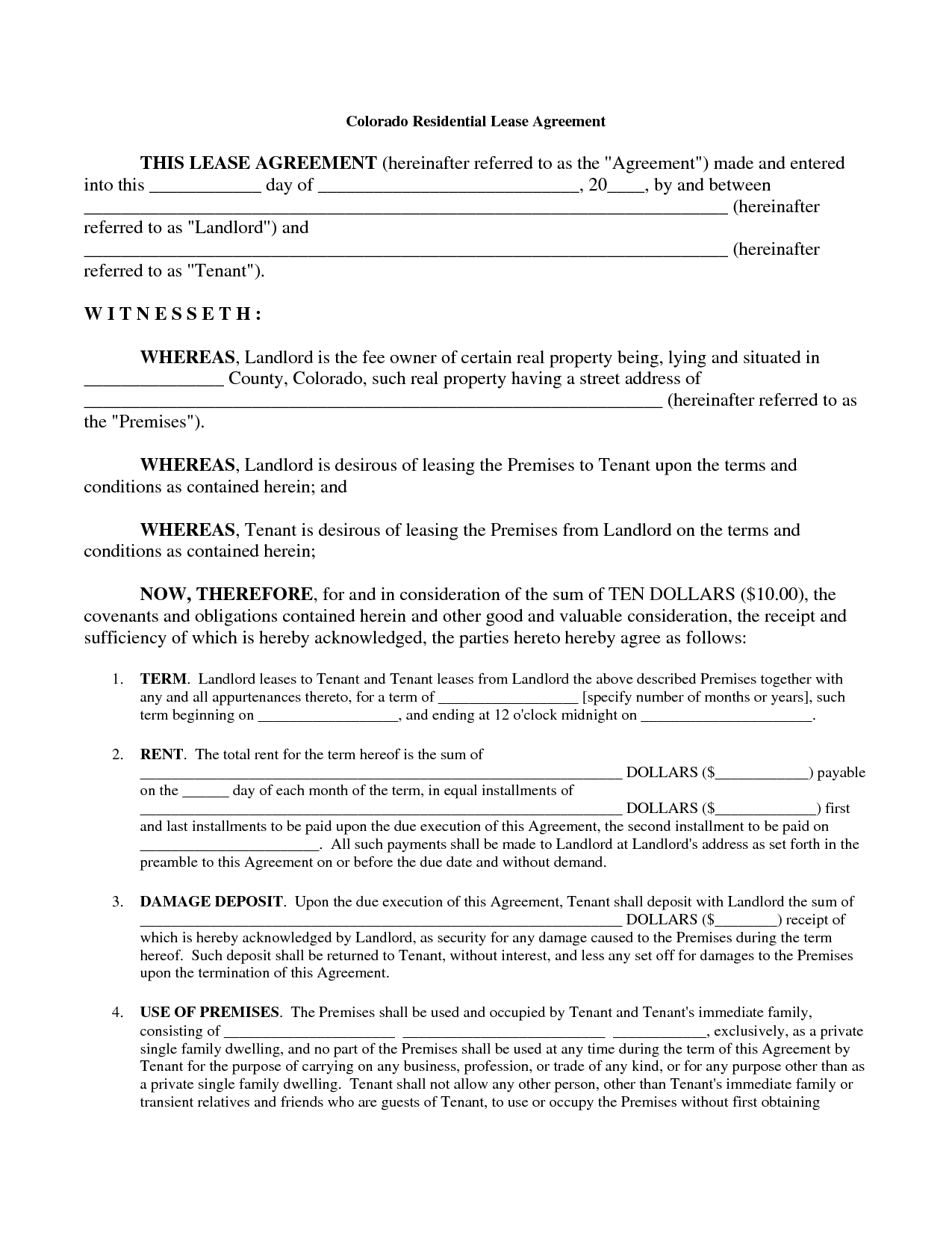 printable blank rental lease agreement   zrom.tk