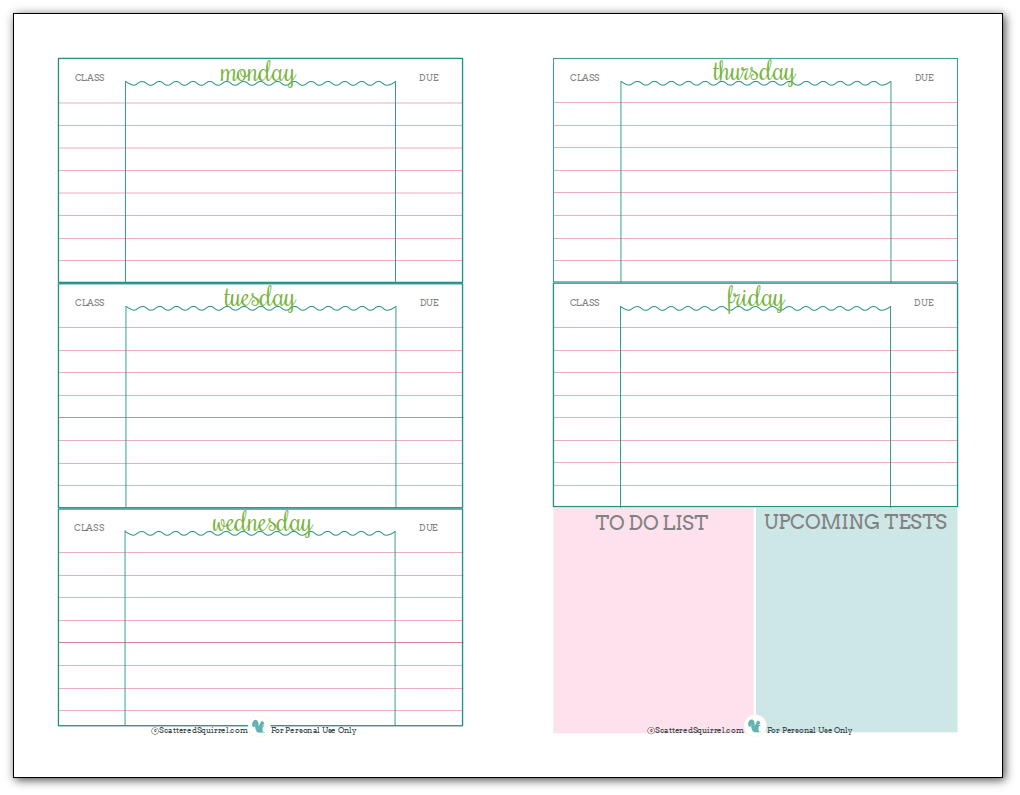 School Planner Pages Printable Shop Fresh