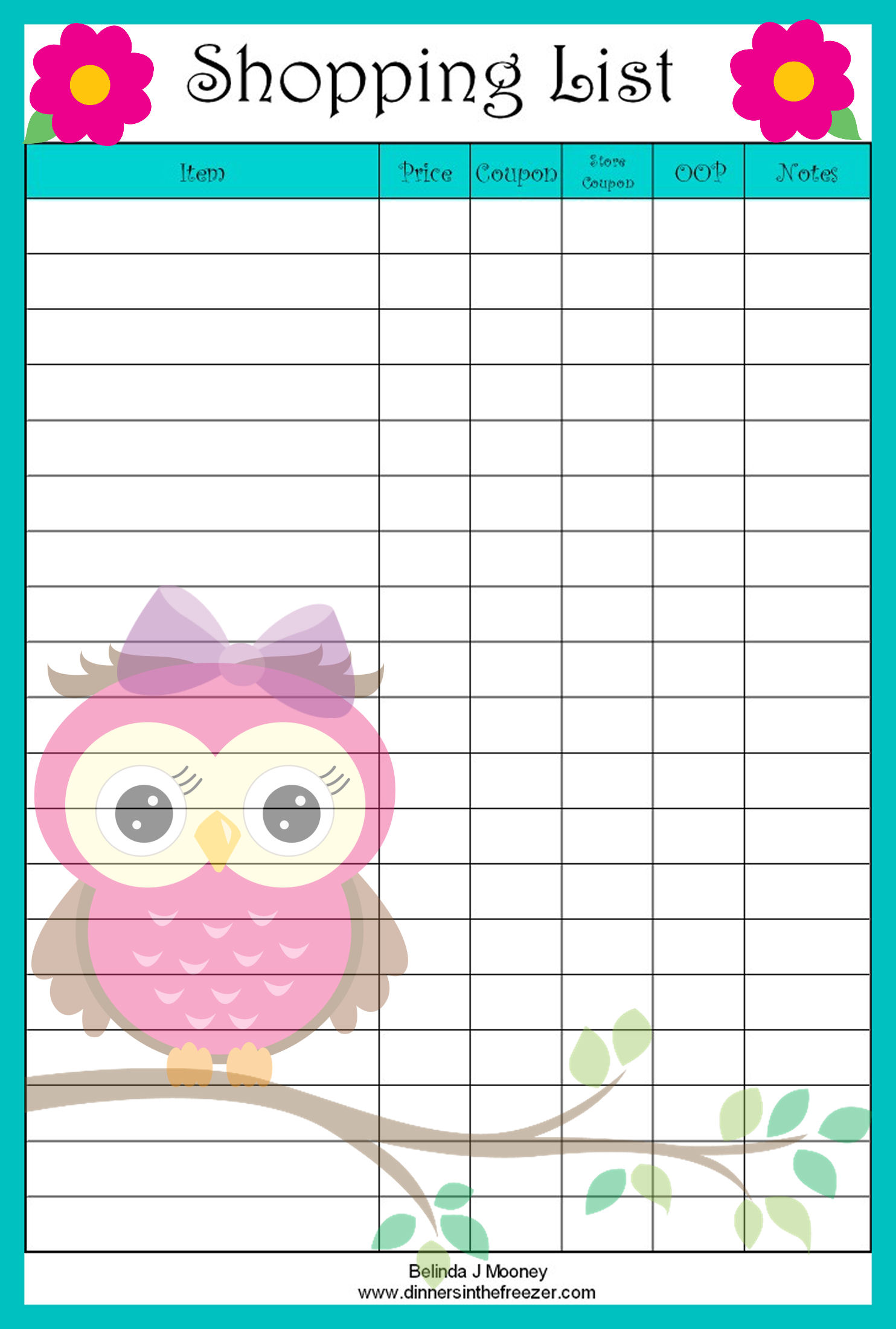Adorable Owl Shopping List – FREE Printable! – Grocery Coupons | WYD