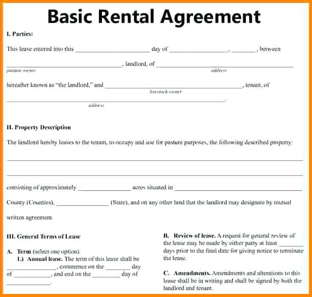Exhilarating image pertaining to free printable basic rental agreement pdf