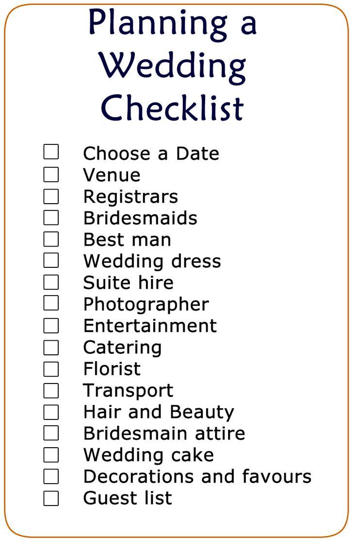 Basic Wedding Checklist Printable | Wedding Checklist | Pinterest