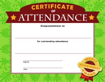 Sunday school perfect attendance clipart