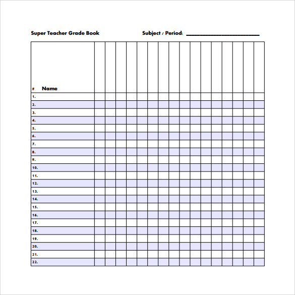 Teacher Grade Book Template Printable | shop fresh