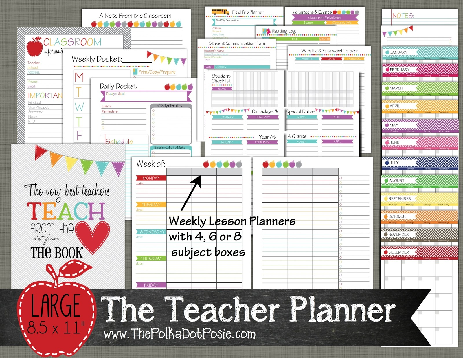 image relating to Free Printable Teacher Planner called Instructors Planner Printable retailer refreshing