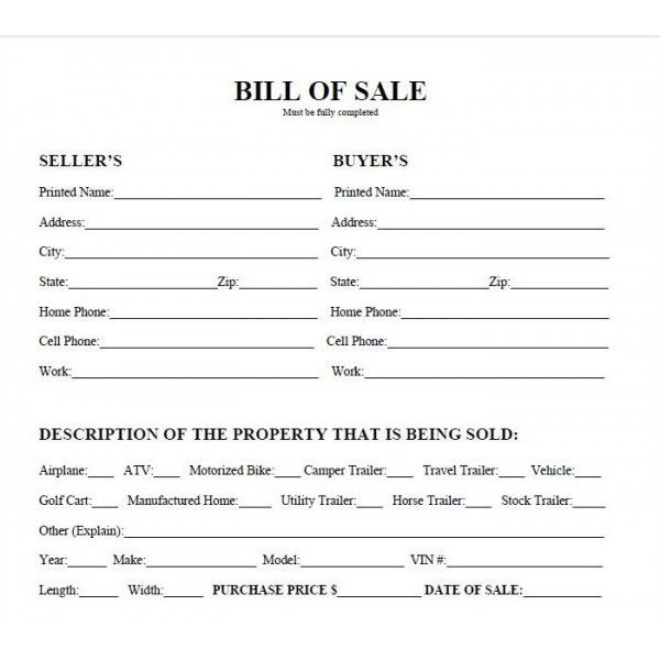 Bill Of Sale Form Texas Harris County Vehicle Bill Of Sale