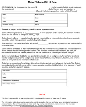 Free Texas Motor Vehicle Bill of Sale Form | PDF | Word (.doc)