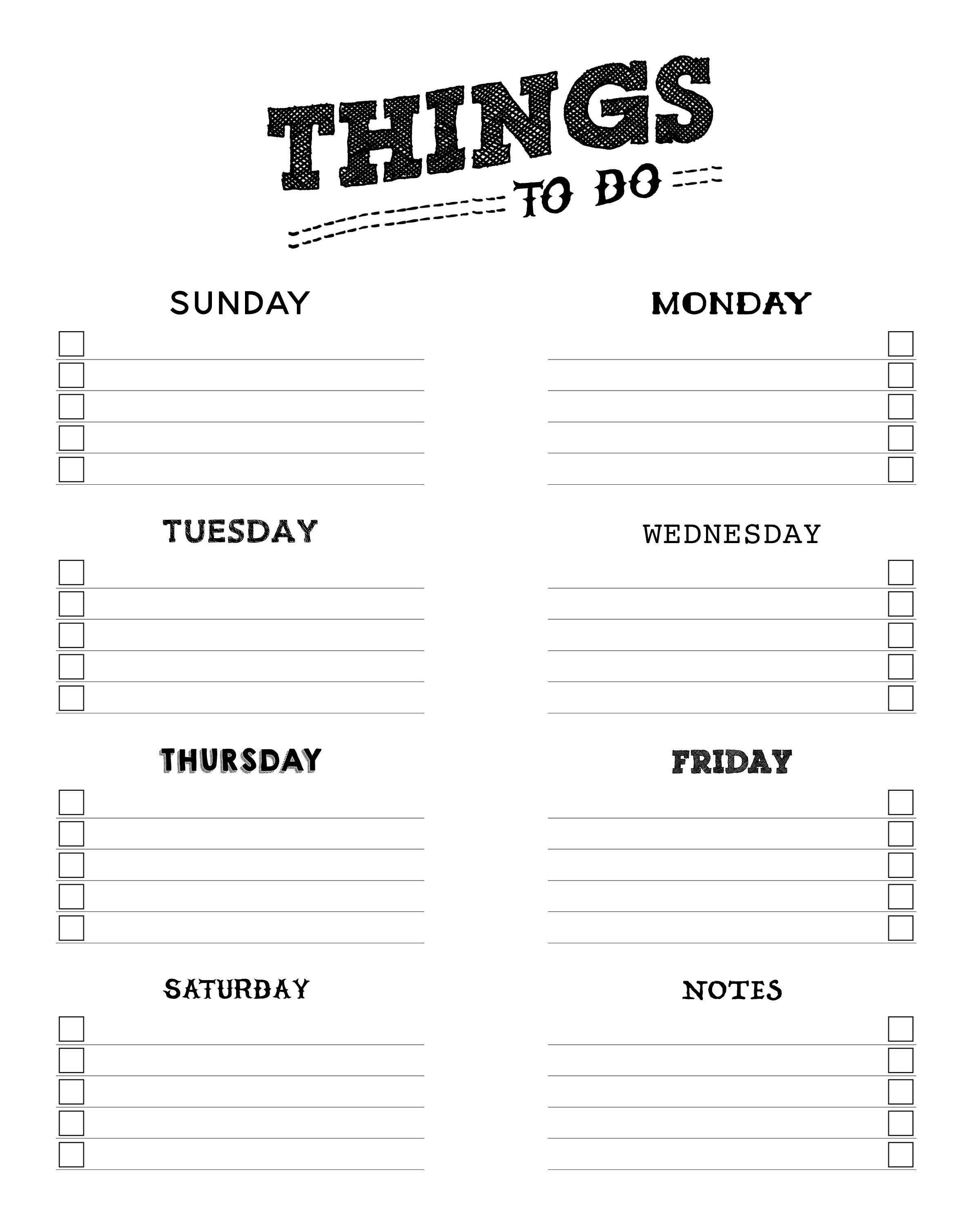 Free Printable Things To Do List   The Cottage Market