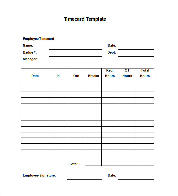 7+ Printable Time Card Templates   DOC, Excel, PDF | Free